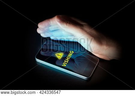 Vishing Call Warning And Alert On Smart Phone Concept. Be Careful Against Vishing Attack By Imposter