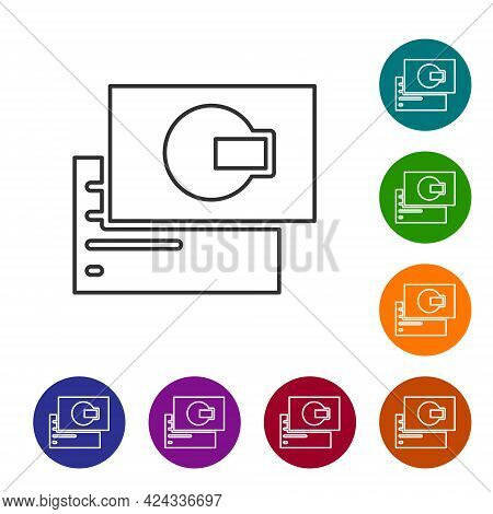 Black Line Visiting Card, Business Card Icon Isolated On White Background. Corporate Identity Templa