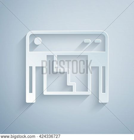 Paper Cut Plotter Icon Isolated On Grey Background. Large Format Multifunction Printer. Polygraphy,