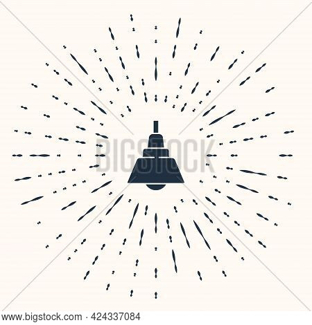 Grey Chandelier Icon Isolated On Beige Background. Abstract Circle Random Dots. Vector