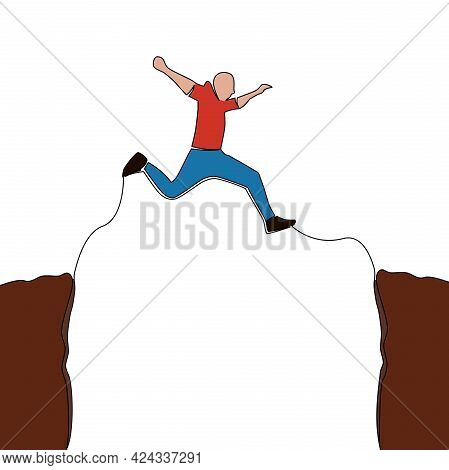 Flat Colorful Continuous Drawing Line Art Overcoming Obstacles Man Jumping Over Abyss Icon Vector Il