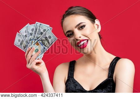 Woman With Dollars In Hand. Portrait Woman Holding Money Banknotes. Girl Holding Cash Money In Dolla