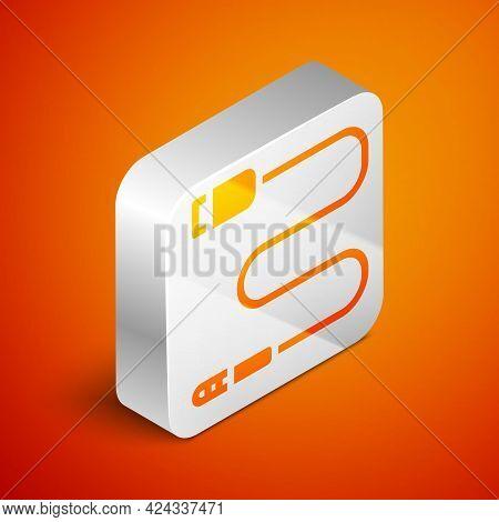Isometric Audio Jack Icon Isolated On Orange Background. Audio Cable For Connection Sound Equipment.