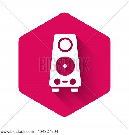 White Stereo Speaker Icon Isolated With Long Shadow. Sound System Speakers. Music Icon. Musical Colu
