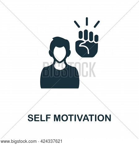 Self Motivation Icon. Monochrome Simple Element From Personal Growth Collection. Creative Self Motiv