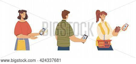 Supermarket Store Buyer Shopper In Line Make Money Transactions By Qr. Contactless Pay, People Payin
