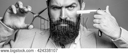 Barber Scissors And Straight Razor, Barber Shop, Suit. Vintage Barbershop, Shaving. Mustache Men. Be