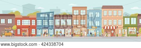 City Small Buildings Facade Exterior Design. Urban Street With Local Markets, Flower Florist Shop, B