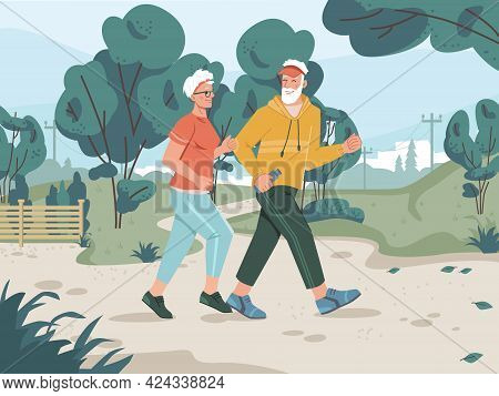 Running Senior Man And Woman In City Park With Pathway, Green Trees, Cityscape On Background. Joggin