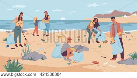 Volunteers Cleaning Beach, Pickup Garbage On River Or Lake Shore. Group Man Woman Collecting Garbage