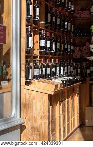 Saint Emilion, France - September 8, 2018: Interior Of A Wine Shop In Saint Emilion In France. St Em