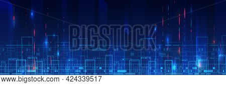 Abstract Futuristic Background. Hi-tech Business Presentation. Cyber City. Big Data Concept. Cyber S