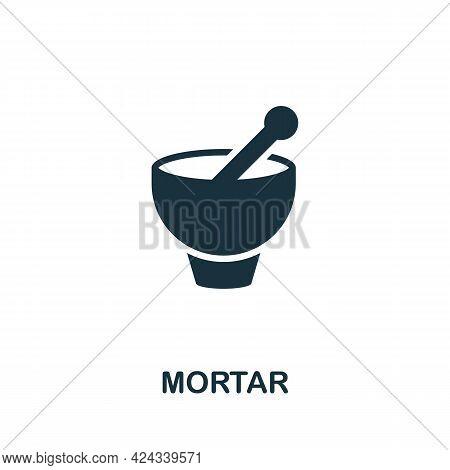 Mortar Icon. Monochrome Simple Element From Sauna Collection. Creative Mortar Icon For Web Design, T