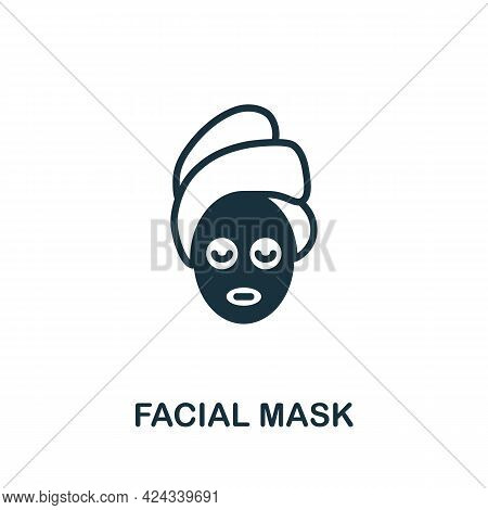 Facial Mask Icon. Monochrome Simple Element From Sauna Collection. Creative Facial Mask Icon For Web