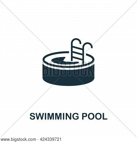 Swimming Pool Icon. Monochrome Simple Element From Sauna Collection. Creative Swimming Pool Icon For