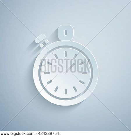 Paper Cut Stopwatch Icon Isolated On Grey Background. Time Timer Sign. Chronometer Sign. Paper Art S