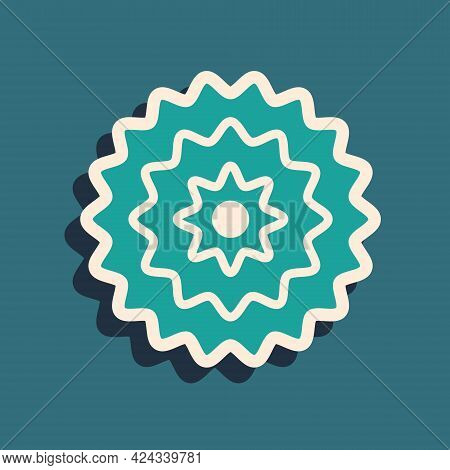 Green Bicycle Cassette Mountain Bike Icon Isolated On Green Background. Rear Bicycle Sprocket. Chain