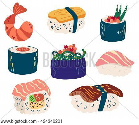 Set Of Different Sushi And Rolls. Sushi With Tuna, Salmon, Eel, Shrimp, Vegetables. Traditional Fres