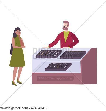 Woman Looking At Pawnshop Jewelry Showcase Flat Vector Illustration