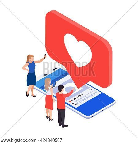Social Media Smm Icon With 3d Image Of Smartphone And Like Notification Vector Illustration