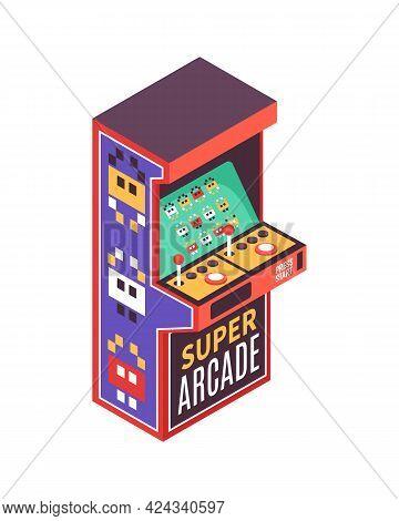 Super Arcade Video Game Machine On White Background Isometric Vector Illustration