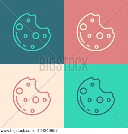 Pop Art Line Chocolate Cookies With Marijuana Leaf Icon Isolated On Color Background. Weed, Ganja, M