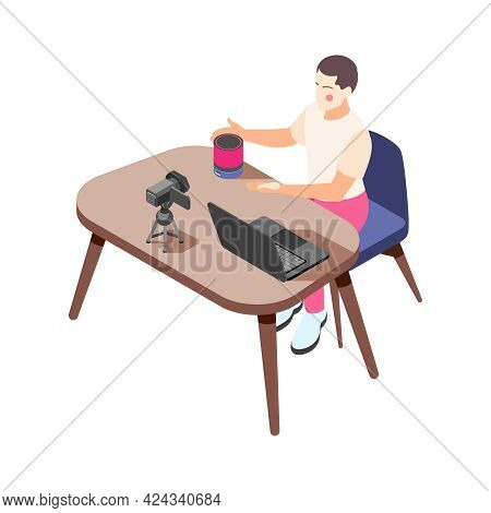 Isometric Icon With Vlogger Making Internet Content At Desk With Laptop And Camera Vector Illustrati