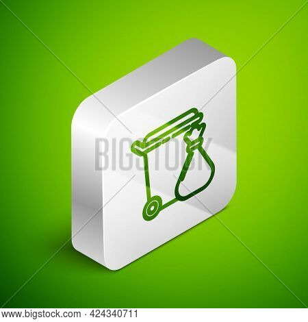 Isometric Line Trash Can And Garbage Bag Icon Isolated On Green Background. Garbage Bin Sign. Recycl