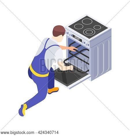 Worker In Uniform Fixing Cooker Stove Isometric Icon Vector Illustration