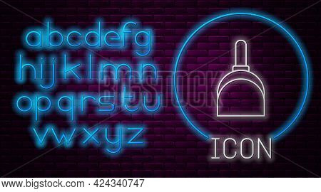Glowing Neon Line Dustpan Icon Isolated On Brick Wall Background. Cleaning Scoop Services. Neon Ligh