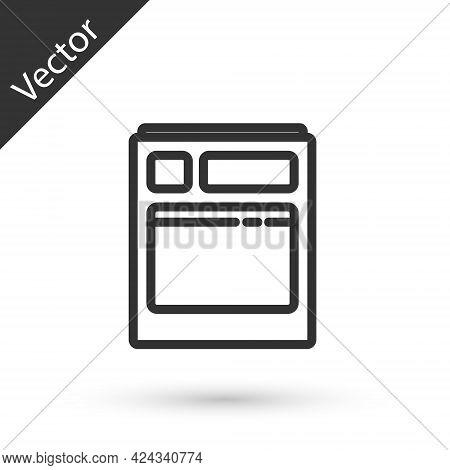 Grey Line Kitchen Dishwasher Machine Icon Isolated On White Background. Vector Illustration