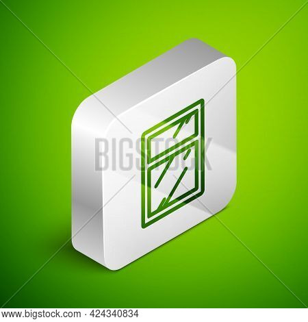 Isometric Line Cleaning Service For Windows Icon Isolated On Green Background. Squeegee, Scraper, Wi