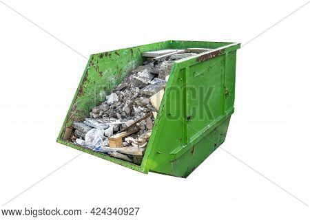 Large Metal Green Container Filled With Rubble And Construction Waste, Isolated On White Background