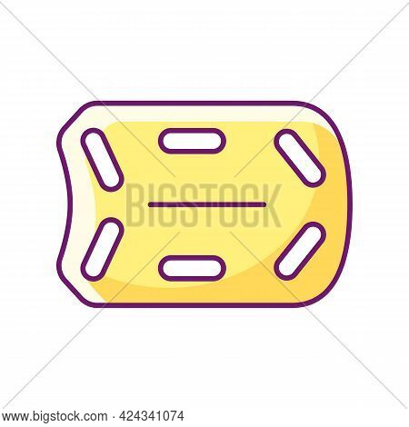Rescue Board Rgb Color Icon. Isolated Vector Illustration. Water Rescue Operations. Floatation Devic
