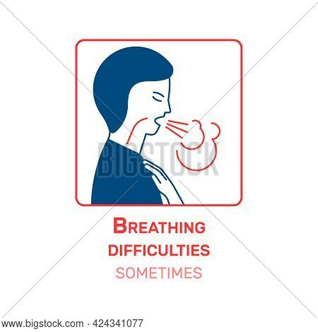 Coronavirus Information Icon With Breathing Difficulty Symptom Flat Vector Illustration