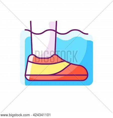 Water Shoes Rgb Color Icon. Isolated Vector Illustration. Walking In Wet, Rocky Environments. Protec