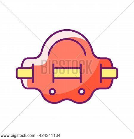 Aqua Jogger Rgb Color Icon. Isolated Vector Illustration. Aquatic Fitness. Water Jogging In Swimming
