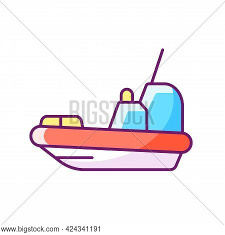 Rescue Boat Rgb Color Icon. Isolated Vector Illustration. Lifeboat For Victims Rescuing. Survival Cr