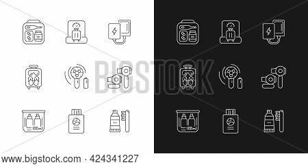 Essential Tourist Pack For Travel Linear Icons Set For Dark And Light Mode. Packing Clothes And Comp