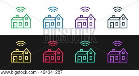 Set Line Smart Home With Wireless Icon Isolated On Black And White Background. Remote Control. Inter