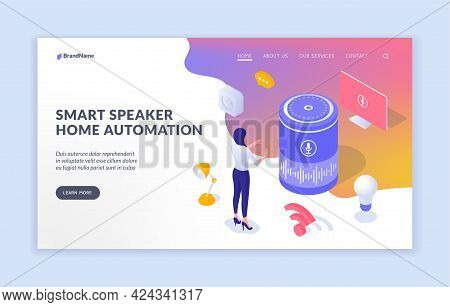 Smart Speaker And Digital Home Automation. Woman Controls Electronic Equipment By Voice. Interactive