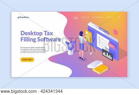 Digital Filling Documentation. Woman Writes Tax Return Data In Online Application. Convenient Web Su