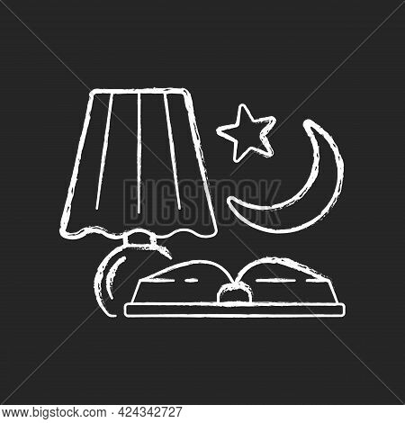 Evening Reading Chalk White Icon On Dark Background. Late Nighttime Studying. Fairytale Books To Rea