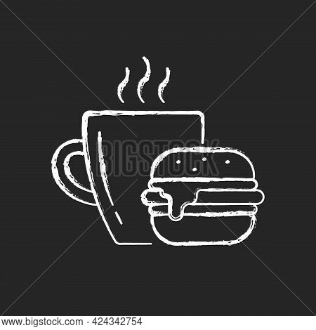 Lunch Chalk White Icon On Dark Background. Burger And Drink In Cup. Coffee Mug With Sandwich. Dining