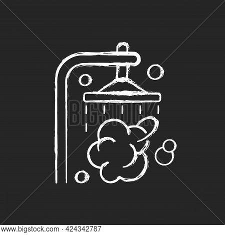 Shower Chalk White Icon On Dark Background. Shower Faucet With Running Water. Rinse And Wash For Per