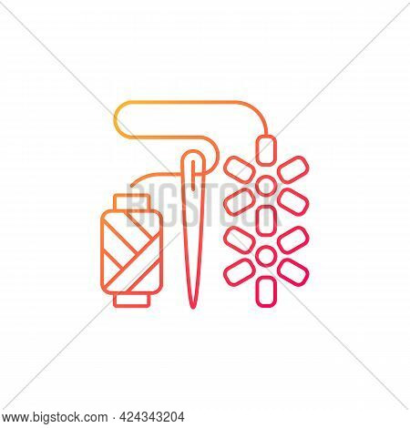 Beadwork Gradient Linear Vector Icon. Attaching Beads With Sewing Needle. Fabric Decoration. Jewelry