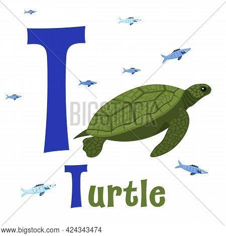 Sea Animals Alphabet. Abc For Children. Letter T