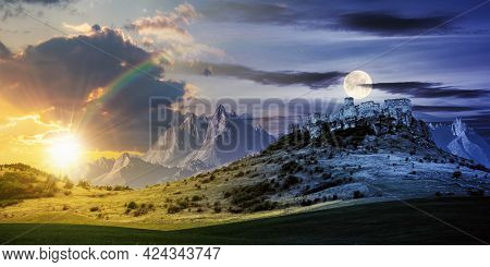 Day And Night Time Change Concept Above The Castle On The Hill. Composite Fantasy Landscape. Grassy