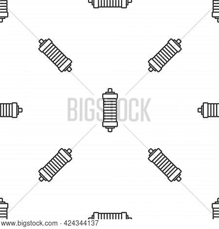 Grey Line Shock Absorber Icon Isolated Seamless Pattern On White Background. Vector