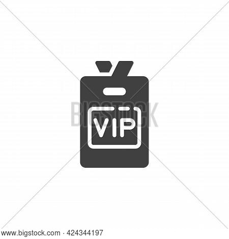 Vip Member Badge Vector Icon. Filled Flat Sign For Mobile Concept And Web Design. Vip Person Card Gl